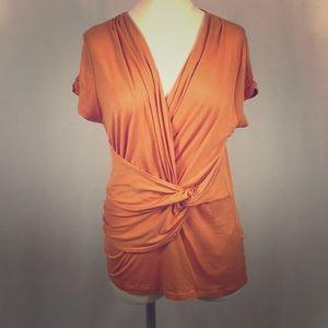 Elie Tahari Orange Goddess Twist Top